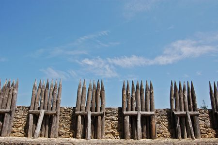 battlements: Wooden frotifications on the battlements of Chateau de Beynac, France