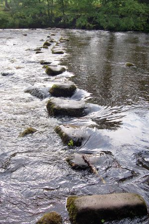 the stepping: Stepping Stones across the river Wharfe, Yorkshire, England