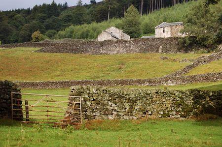 wharfedale: Muro de piedra y una puerta en la granja de Yorkshire, Wharfedale Foto de archivo