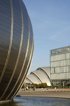 space age: The space age shell and the Armadillo shape of the clyde auditorium at Pacific Quay, Glasgow