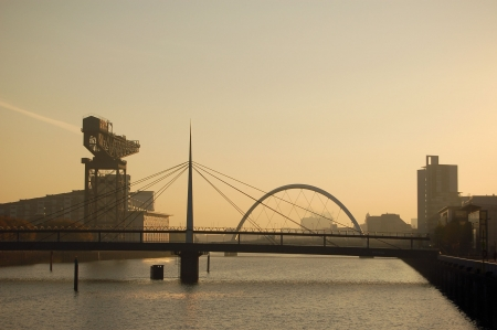The giant Finniston crane and the bridges over the River Clyde, Glasgow photo