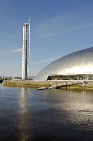 space age: The space age Science Centre, Tower and wharf at Pacific Quay, Glasgow Stock Photo