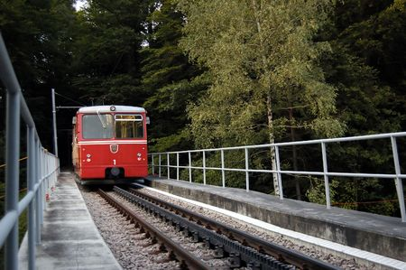 halt: The Funicular train coming into a halt, Zurich, Switzerland