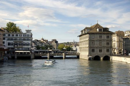 main river: Water bus on the main river through Zurich Stock Photo