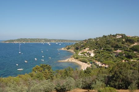 tropez: St Tropez bay and boats  from hilltop above town, French Riviera