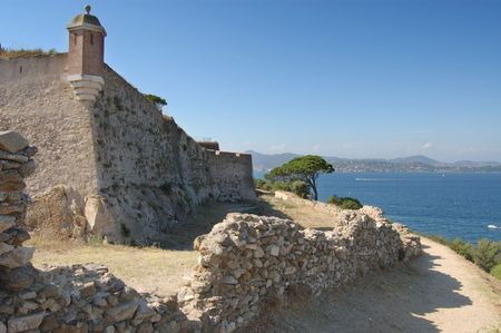 tropez: St Tropez castle walls looking north over the bay