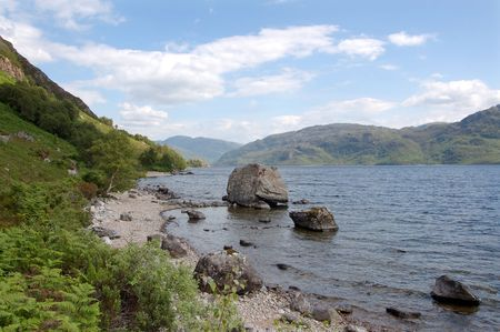 Looking toward the south Morar hills from the north shore of Loch Morar, Scotland with alarge rock on the loch foreshore Stock Photo - 6824466