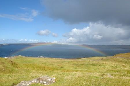 Rainbow over the sea near Dunvegan Skye photo