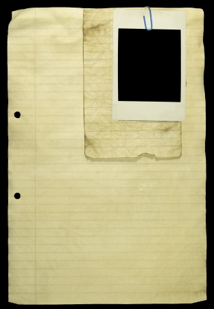 yellow notepad: Grunge Lined paper with paper clip and a picture.