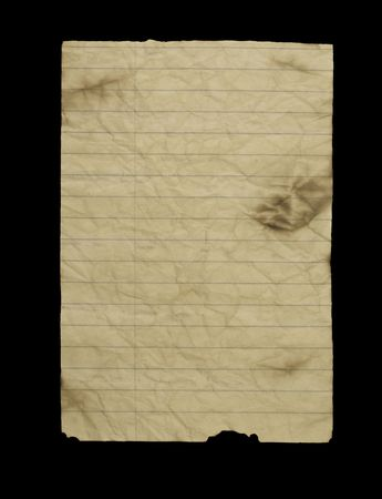 Old worn grungy lined note paper. photo