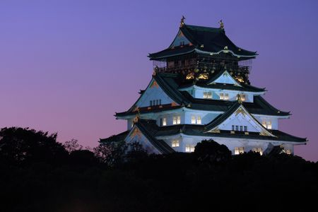 Osaka Castle at dusk, Japan. Editorial