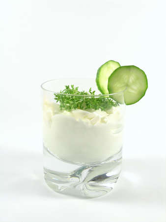 greek jogurt  with cucumber and watercress