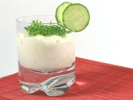 greek yogurt  with cucumber and watercress photo