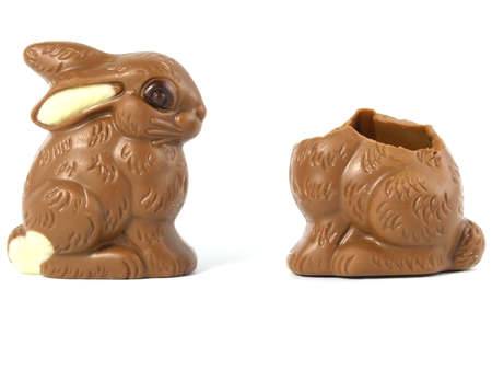 Chocolate Easter Bunny isolated on white background  photo