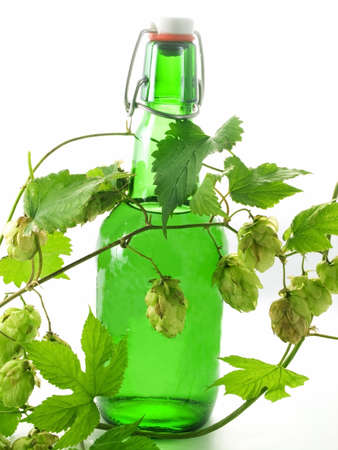 Close-up of Beer bottle isolated on white background photo