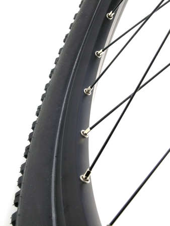 serie sport: Mountain bike tire isolated on white background (close-up)