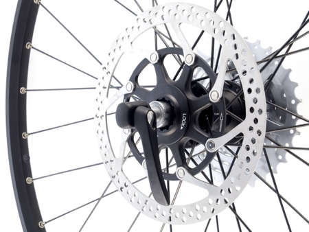 series sport:  rear bicycle cog cassette isolated on white background (close-up) Stock Photo