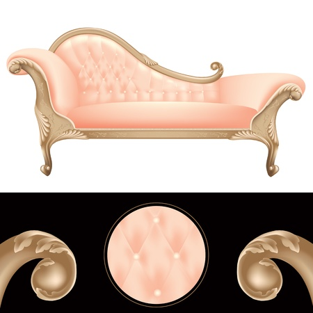 baroque room: Empty pink and golden vintage sofa, luxury furniture background, illustration frame for glamor, elegance and stylish design isolated Illustration