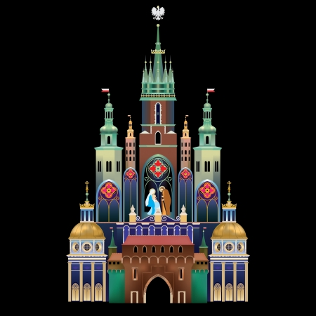Krakow Nativity Scene - Christmas tradition - historical landmark of Krakow, Poland - Szopka Krakowska Stock Vector - 18085668