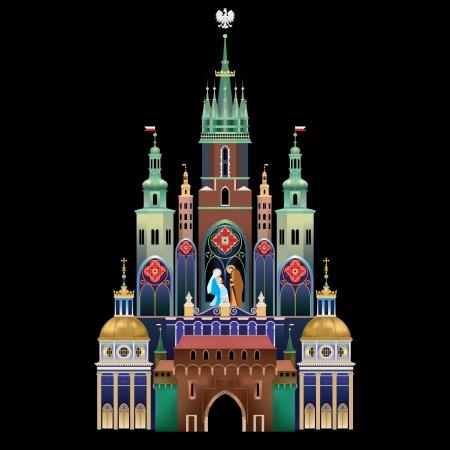 Krakow Nativity Scene - Christmas tradition - historical landmark of Krakow, Poland - Szopka Krakowska Vetores