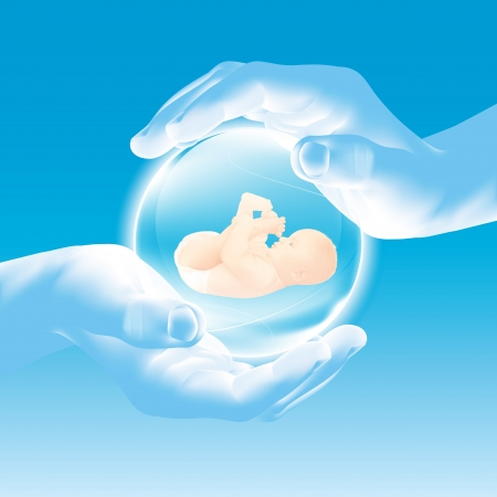 Hands holding glass sphere - baby - security and care, parenting - celebrate new life  Illustration