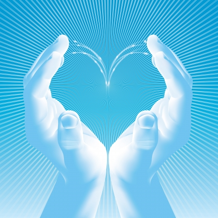 Shape of heart made by hands over blue sky background  Illustration