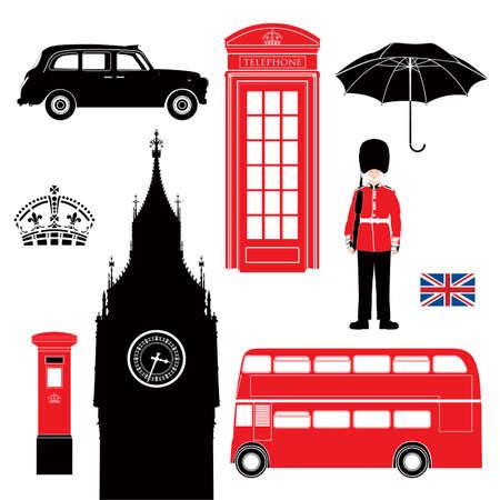 london: Londen symbolen - zeer gedetailleerde illustratie, Set van Londen pictogrammen, Silhouette stencil stijl Stock Illustratie