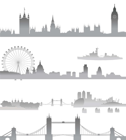 london city: Very Detailed London skyline with Big Ben, Westminster, London Eye, Tower Bridge, Tower of London, city, St  Paul Cathedral, Thames Barrier, and O2