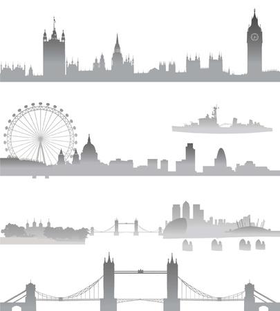 london: Zeer Gedetailleerde skyline van Londen met de Big Ben, Westminster, London Eye, de Tower Bridge, Tower of London, de stad, St Paul Cathedral, Thames Barrier, en O2 Stock Illustratie