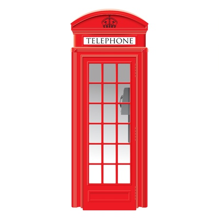 telephone box: Red telephone box - London -  very detailed isolated illustration Illustration