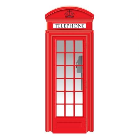 Red telephone box - London -  very detailed isolated illustration Illustration