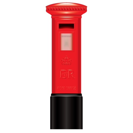 old english letters: Red Mail Box - England - London - Icon - very detailed isolate vector illustration