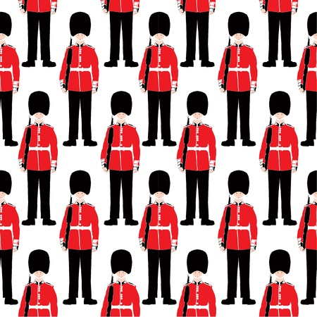 Beefeater soldier seamless vector patter Vector