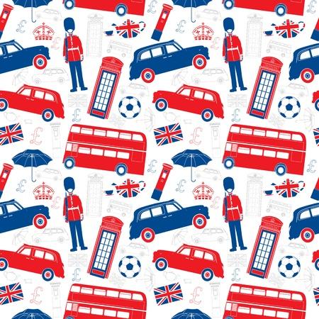 london: Londen symbolen - Icons - Seamless patten - Silhouet en de hoofdlijnen stijl - Zeer gedetailleerde illustraties Stock Illustratie