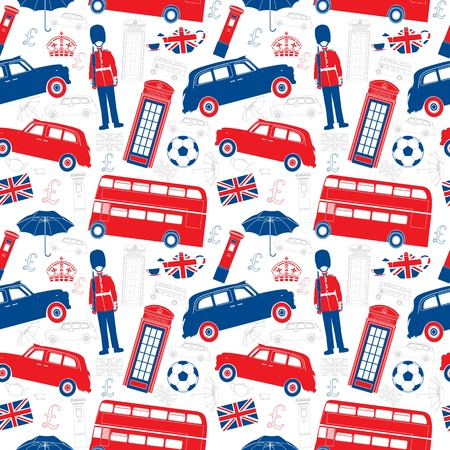 double decker bus: London symbols  -  Icons - Seamless patten - Silhouette and outline  style - Very detailed illustrations