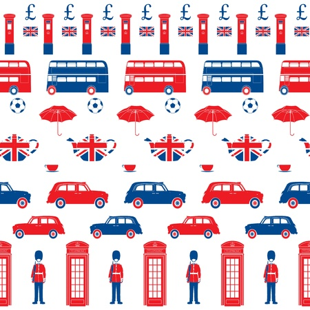 double decker bus: London symbols  -  Icons - Seamless patten - Silhouette  style - Detailed illustrations