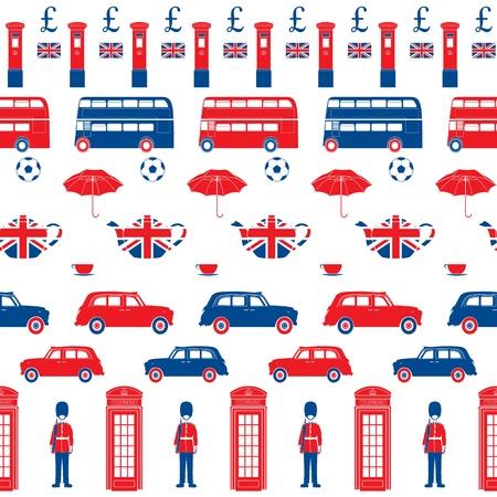 british culture: Londres s�mbolos - Iconos - Seamless patten - estilo de la silueta - ilustraciones detalladas Vectores