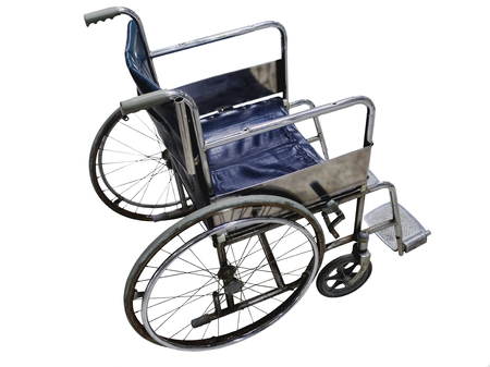 wheelchair Isolated on White Background.  Side view of blue wheelchair with rust some surface Stock Photo