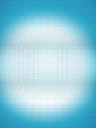 perspective grid: Perspective grid background blue with spot light Stock Photo
