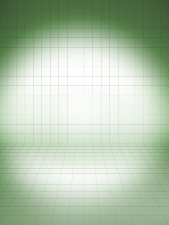 perspective grid: Perspective grid background green with spot light Stock Photo