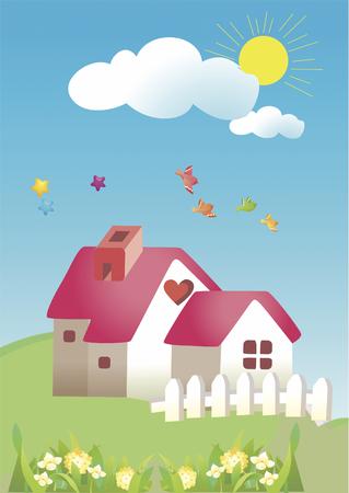 kids garden: Kids garden cartoon sky with clouds vector