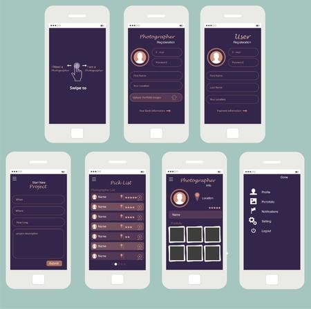Universal UI Kit for designing responsive websites, mobile apps & user interface. Dark purple background.