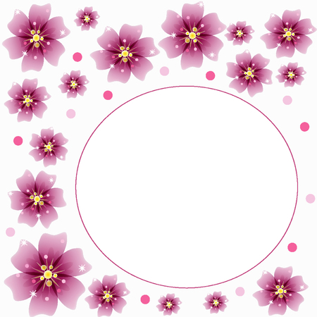 Pink flowers blossomed on a white background banner Illustration