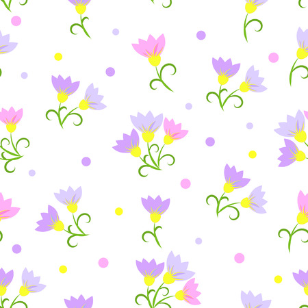 floral seamless pattern on a white background. Pink flowers. EPS10 Illustration