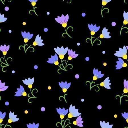 blue flowers on a black background. Seamless Pattern Illustration