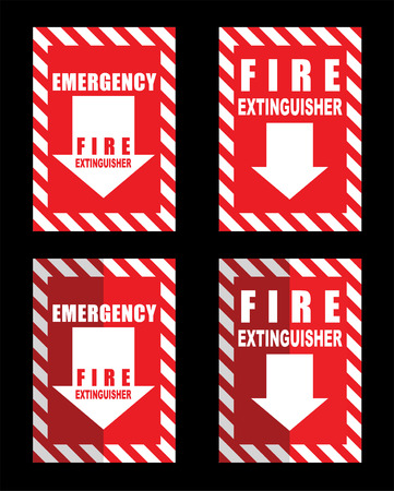 inference: A fire extinguisher location sign for use in any safety inference Illustration