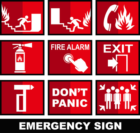 fire escape: EMERGENCY SIGN AND VECTOR SYMBOL