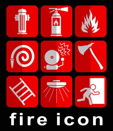 emergency exit label: fire symbol