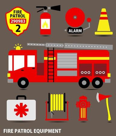 voiture de pompiers: feu ensemble d'�quipement de combat