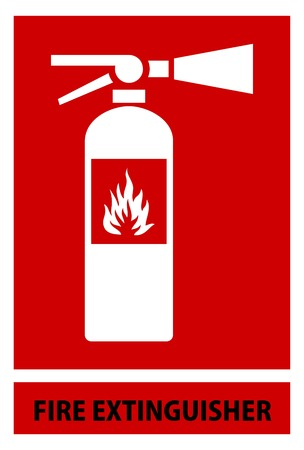 disaster prevention: fire extinguisher sign and symbol isolated red background